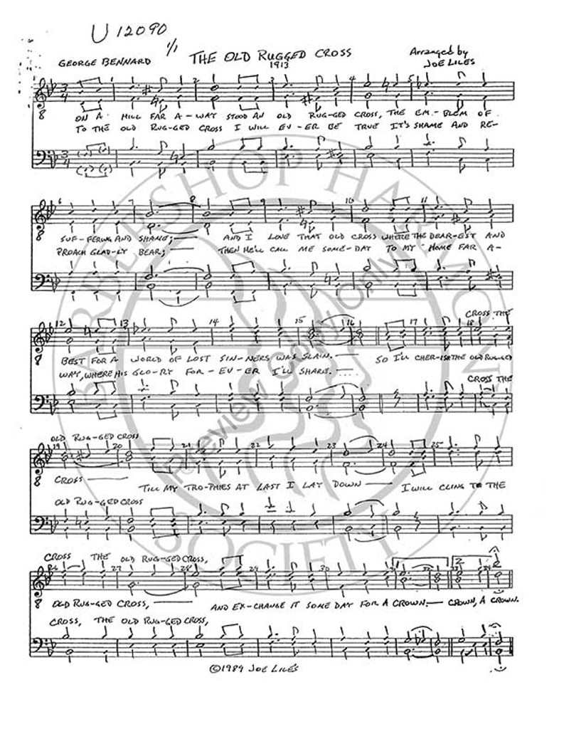 picture regarding Old Rugged Cross Printable Sheet Music titled Outdated Rugged Cross (TTBB) (arr. Joe Liles)-UNPUB