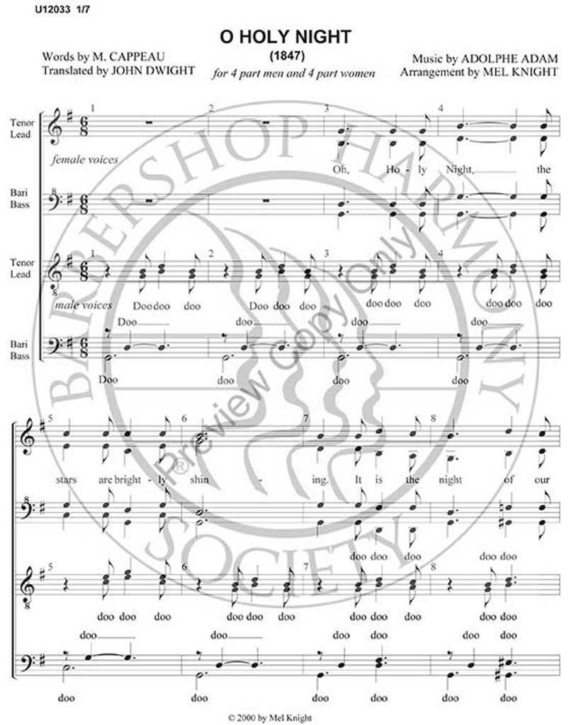 O Holy Night 8 Part Double Quartet Ssaa And Ttbb Satb Arr Melvin Knight Download Unpub