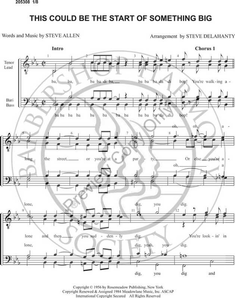 This Could Be The Start Of Something Big 1 (TTBB) (arr. Stephen Delehanty)-Download-UNPUB