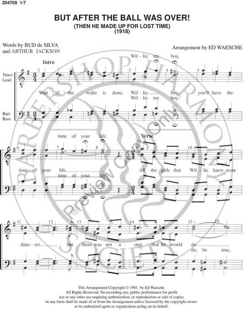 But After The Ball Was Over (TTBB) (arr. Ed Waesche)-Download-UNPUB