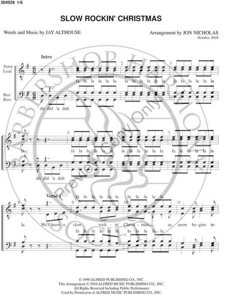 Slow Rockin' Christmas (TTBB) (arr. Jon Nicholas)-Download-UNPUB