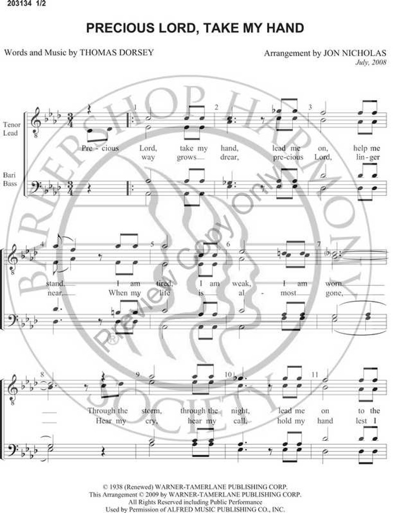 Precious Lord Take My Hand (TTBB) (arr. Jon Nicholas)-Download-UNPUB