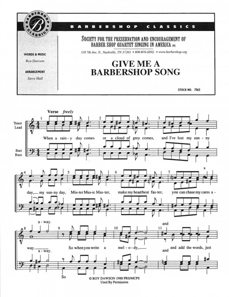 Give Me A Barbershop Song (TTBB) (arr. Hall)