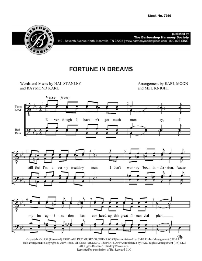 Fortune In Dreams (TTBB) (arr.  Knight/Moon)