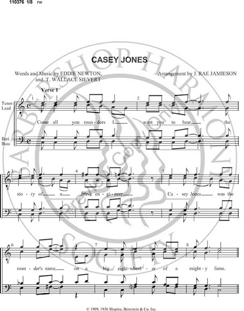 Casey Jones (TTBB) (arr. J Rae Jamieson)-Download-UNPUB