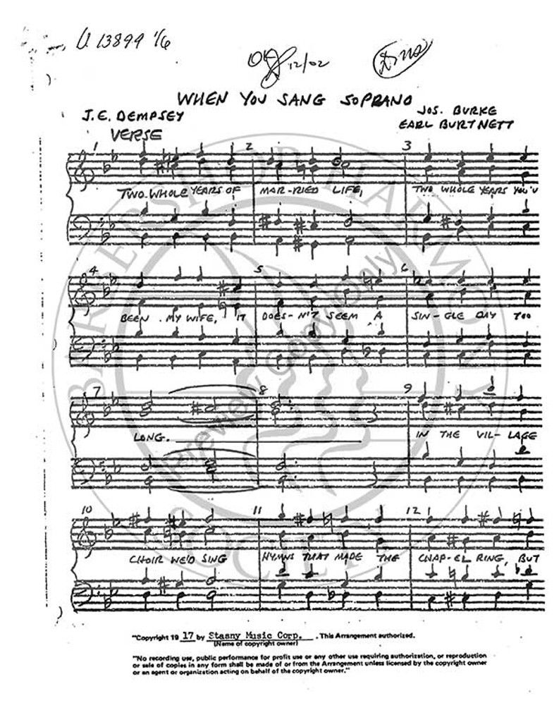 When You Sang Soprano (TTBB) (arr. Burt Szabo)-Download-UNPUB