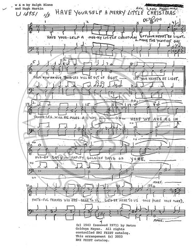 Have Yourself A Merry Little Christmas Sheet Music.Have Yourself A Merry Little Christmas Ttbb Arr Larry Merriman Download Unpub