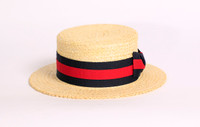 Boater Hat (Navy and Red Ribbon)