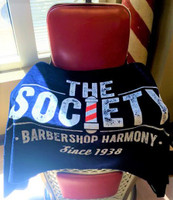 This is a beach towel with elegance and plenty of character.   Made of 100% cotton, it is comfortable and soft.   Includes the Society seal printed the entire towel.   Available as a part of the Society merchandise collection.