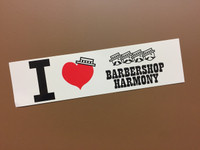 "This ""I Heart Barbershop Harmony"" sticker is a great accent to any car bumper and is sure to give people a few good laughs.   Styled with a big red heart in the middle and barbershop hats added for piqued interest.   It's awe-inspiring design spreads the love for barbershop harmony."