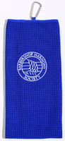 Our golf towel includes a carabiner meant for convenient hanging.   It is specially embroidered and stitched with the white BHs logo and can be used for more than just a golf towel.   Available in our signature blue and comfortably patterned to your liking.