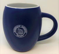 """Sip your favorite beverage in this 16 oz barrel mug.  The large, """"C""""- shaped handle allows for a comfortable grip with hot beverages. Also great for cold drinks.  Long-lasting, with the tough ceramic construction.  Blue matte finish outside with a white glaze on the inside.  Dishwasher safe - top rack."""