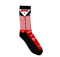 Show off your barbershop pride with our vintage barbershop uniform sock.   Sock features a red, white, and black jacket, white shirt, red bow tie, and music notes along the length of the sock.   Sock is made of 70% Polyester, 22% Acrylic, 4% Spandex, and 4% Elastic.  Because these are custom socks, they may run a bit smaller.  Size: 13-15 XLarge   Wash luke warm, dry low, no bleach.