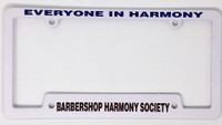 Outfit your car with our new Everyone In Harmony license plate frame.  Durable white plastic easily mounts to your car using your existing license plate screws.  Cut-outs in the lower corners make it easy to update your tag renewal stickers.  Color coordinated in blue and burgundy.   Pairs perfectly with the BHS Striped Front License Plate.