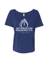 A classic scoop neck lightweight tee branded with our Afterglow Brewing Co. logo.   This fashionable addition to your wardrobe is a sporty yet trendy option for casual or sporty occasions.     Details:  Fabric: 3.7 oz, 65% Polyester, 35% viscose Neck: Scoop Neck    This garment is part of the Afterglow Brewing Co. merchandise