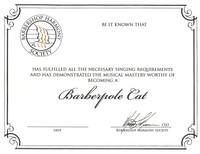 Barberpole Cat Certificate (printed version)