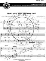 Bring Back Those Good Old Days (TTBB) (arr. BHS)