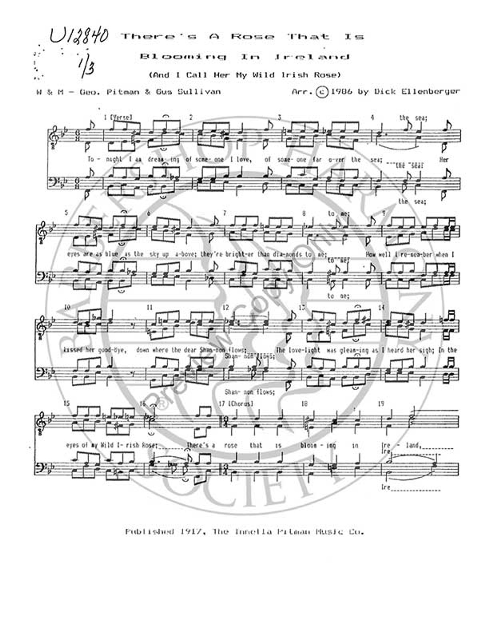 There's A Rose That Is Blooming In Ireland 1 (TTBB) (arr  Dick  Ellenberger)-Download-UNPUB