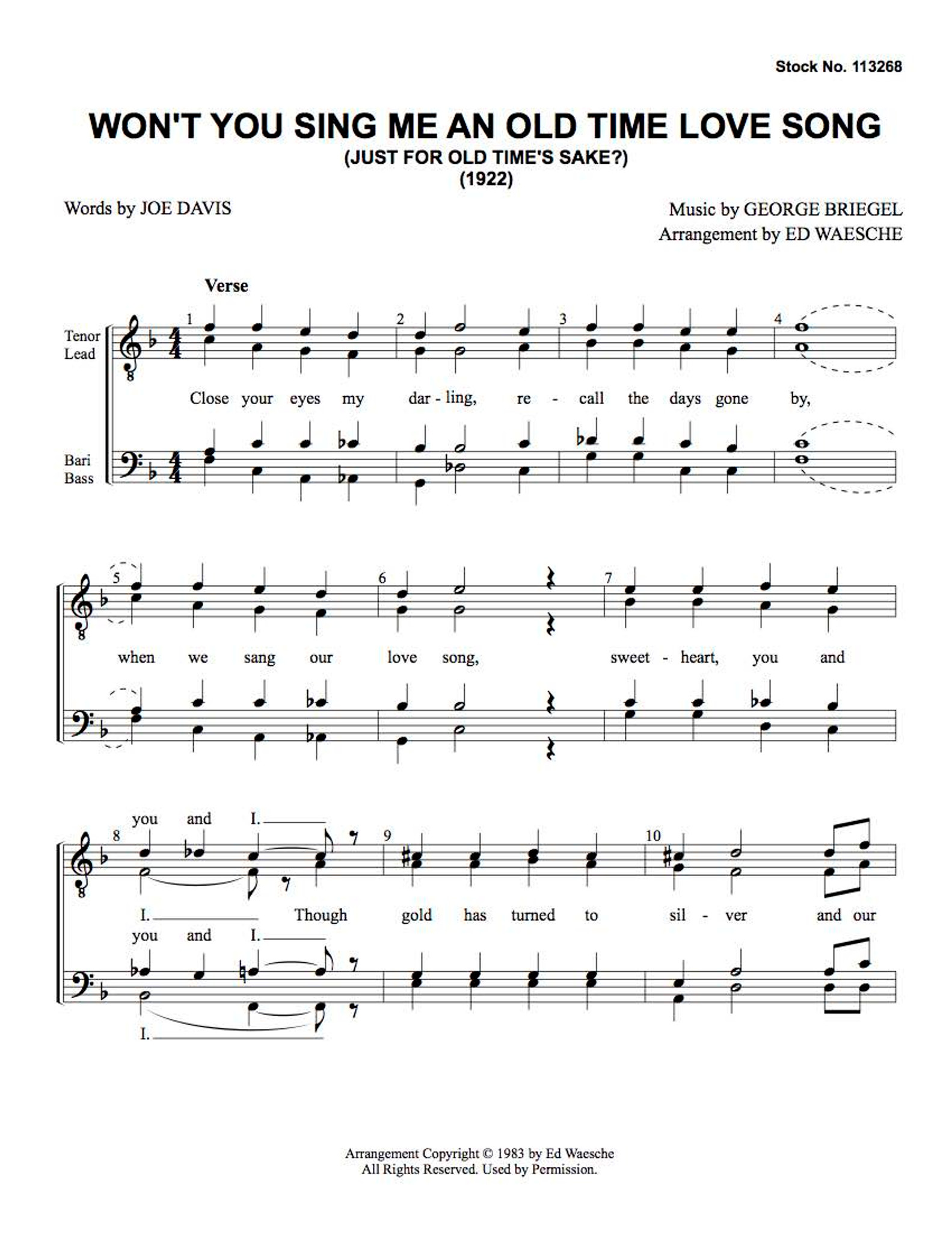 Won't You Sing Me An Old Time Love Song (TTBB) (arr  Ed  Waesche)-Download-UNPUB