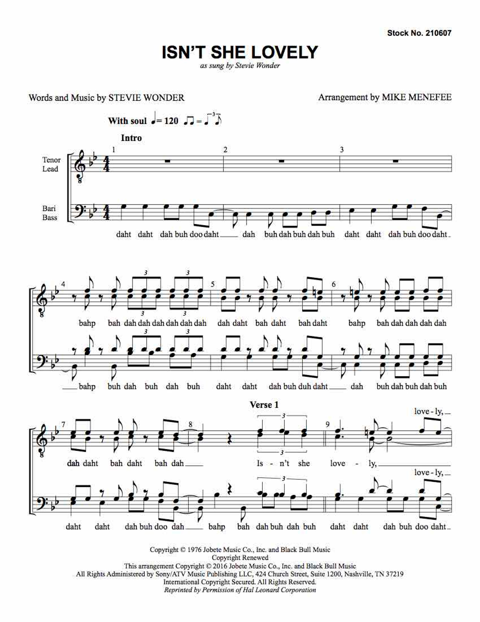 S Arr. Menefee TTBB TTBB Sheet Music Wonder Stevie Wonder: Isn/'t She Lovely