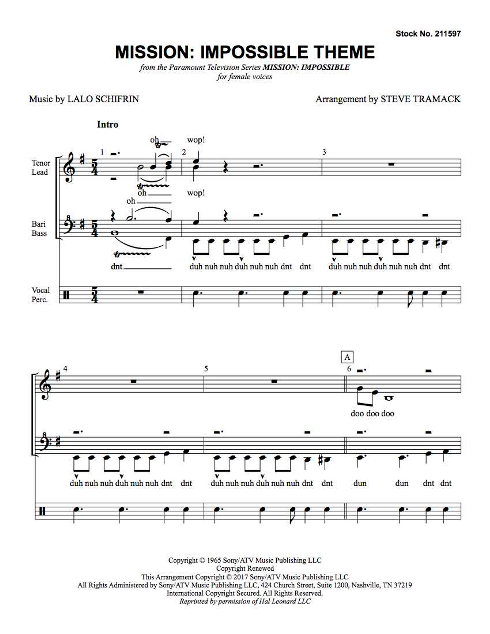 Mission: Impossible Theme (SSAA) (arr  Tramack) - Download