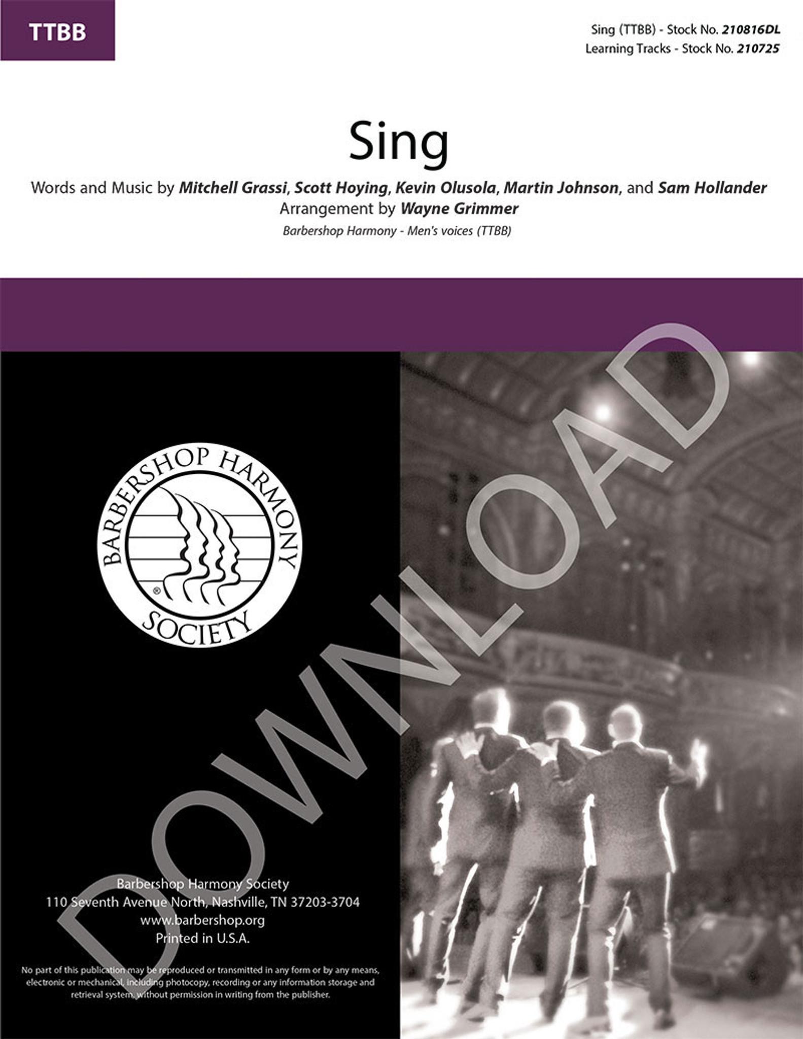 Sing (TTBB) (arr  Grimmer) - Download