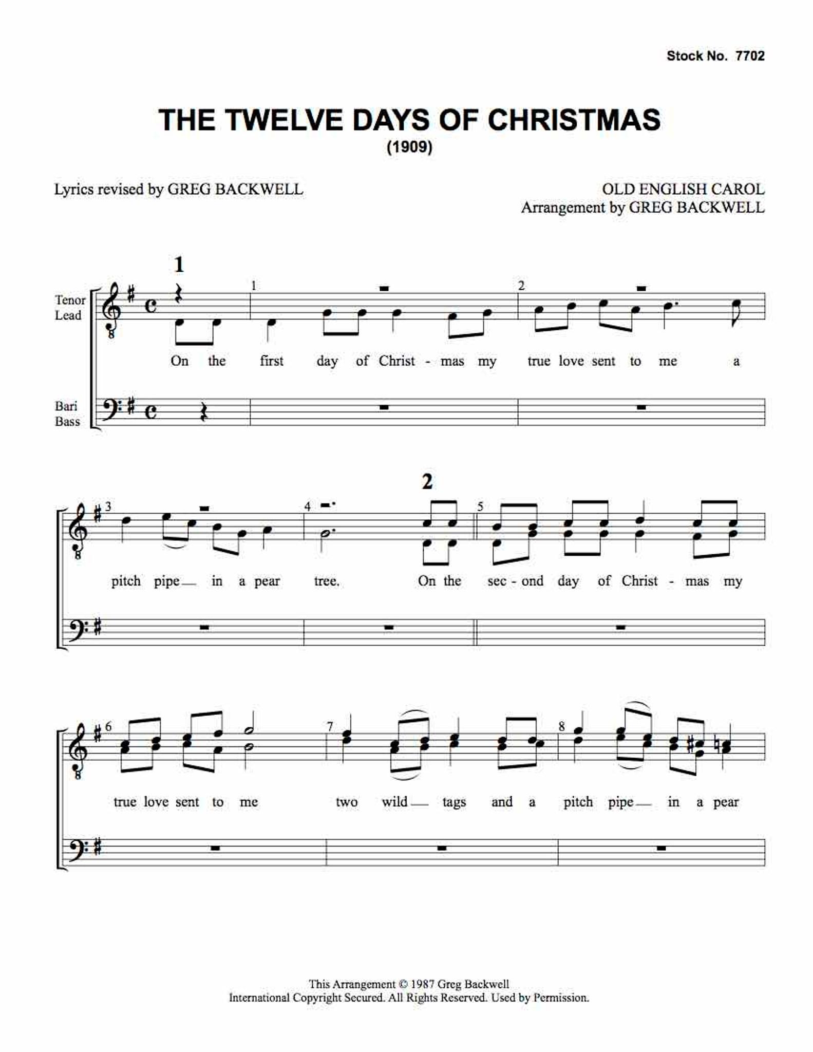 Twelve Days Of Christmas Sheet Music.Twelve Days Of Christmas Ttbb Arr Backwell