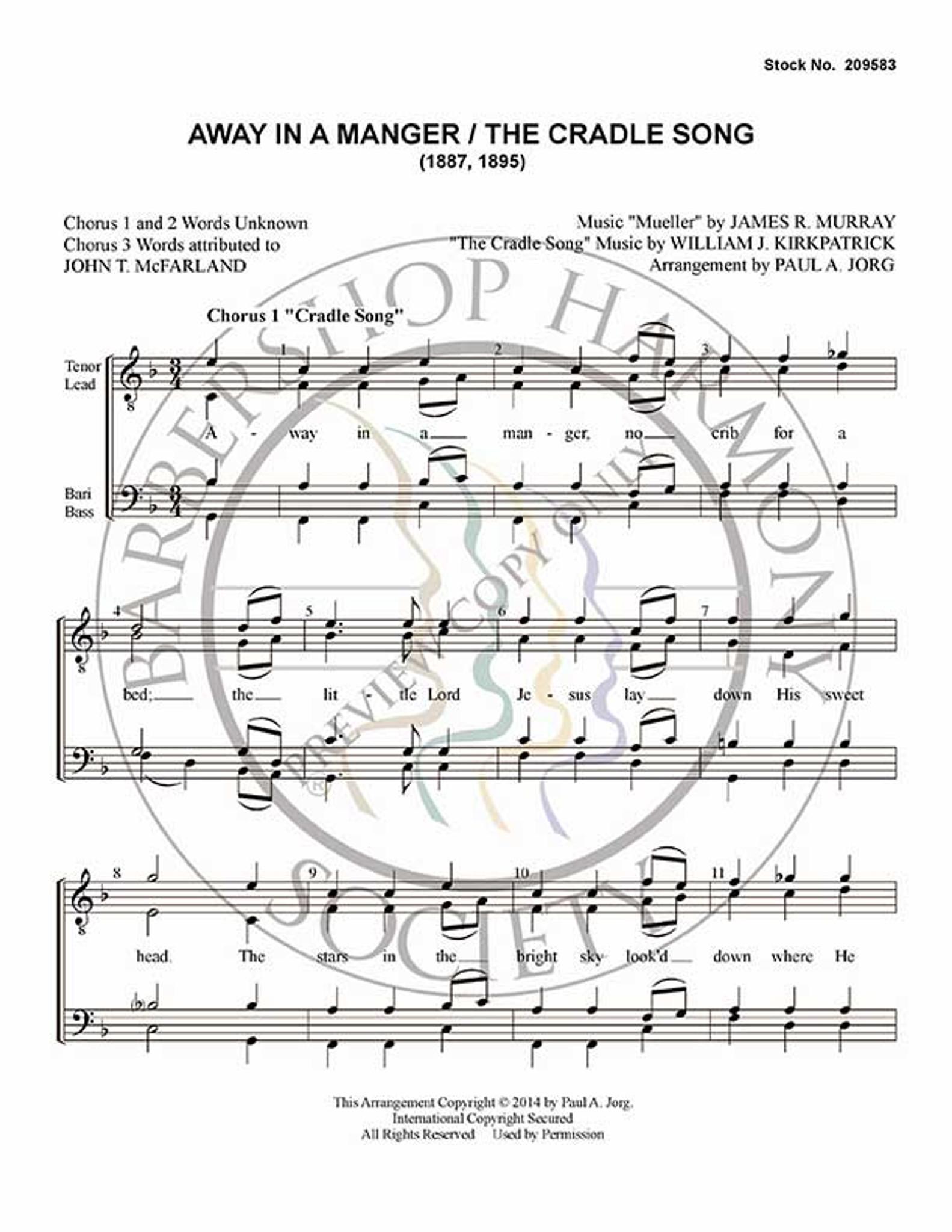 Away In A Manger Medley (TTBB) (arr  Paul Jorg)-Download-UNPUB