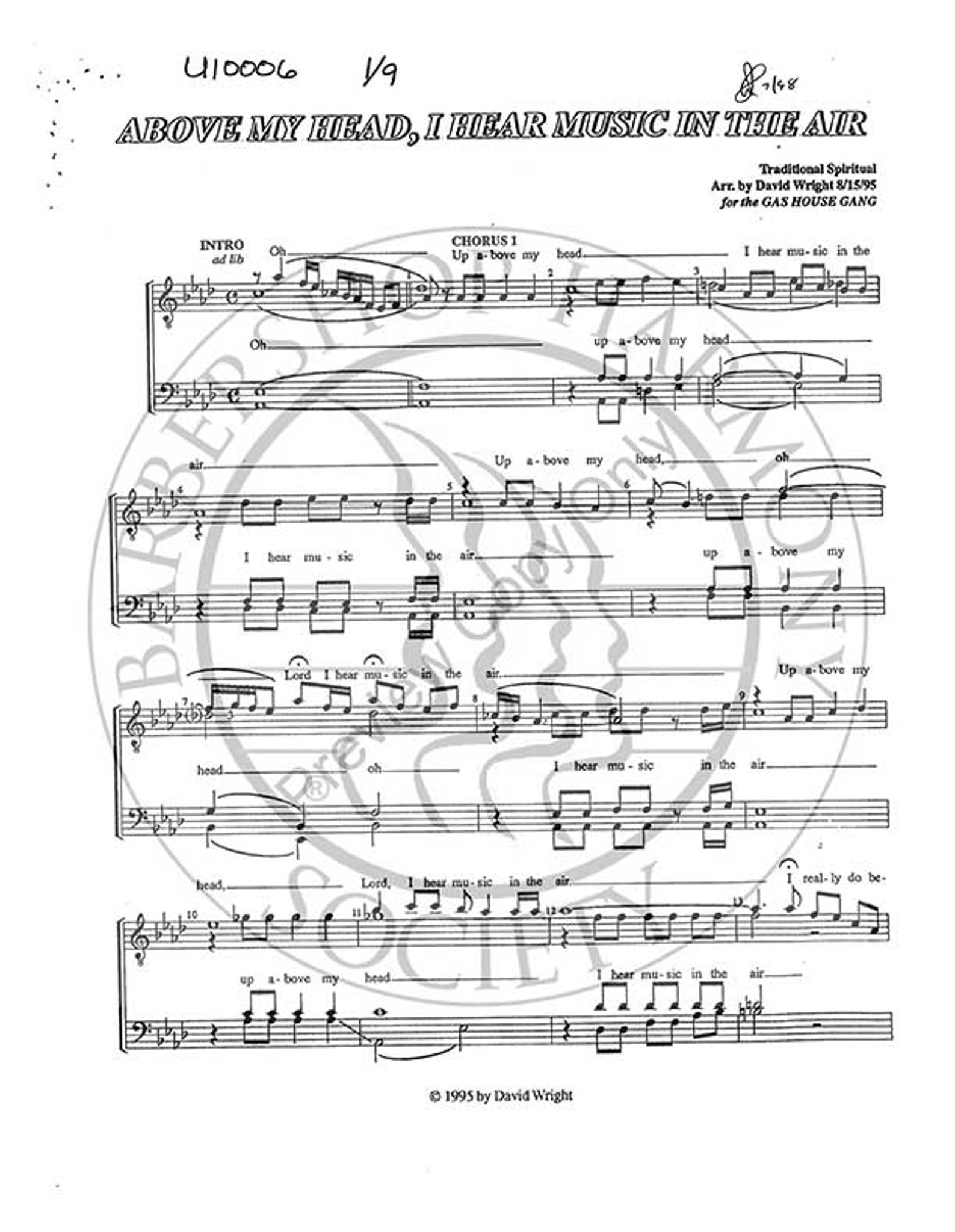 Above My Head, I Hear Music In The Air (TTBB) (arr  David  Wright)-Download-UNPUB