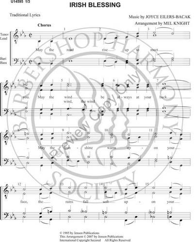 Irish Blessing (TTBB) (arr  Melvin Knight)-Download-UNPUB