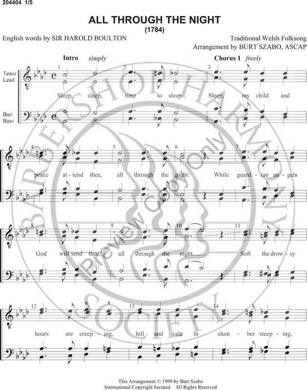 All Through The Night (TTBB) (arr  Burt Szabo)-Download-UNPUB