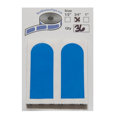 """Real Bowler's Tape 3/4"""" - Blue - 36 Pieces   Since the original Bowler's Tape was invented by Chris Keller, many companies have tried to duplicate the original product, but have failed over and over again. Mr. Keller's vision of The Bowler's Tape was to supply a product that could modify the grip of a thumb hole in a bowling ball without leaving any residue behind. As WE ALL know this is not the case in any of the products made available to us today. With the help of Mr. Keller we at realbowlerstape.com have searched worldwide to find the raw material and the craftsmanship to supply a product as good, or even better. Introducing BOWLERS TAPE: INVENTOR'S RESERVE........."""