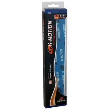 Genesis K-Motion Tape Pre-cut Blue  Kinesiology Tape with Copper InfuzionTM K-MotionTM with Copper InfuzionTM is an innovative kinesiology tape solution for treating & preventing common repetitive injuries such as wrist, forearm, elbow, shoulder, knee pain and more. K-MotionTM is the first tape of its kind with copper infused into a highly elastic synthetic / cotton hybrid material, and has proven highly effective for repetitive motion. Applied correctly, it provides pain relief, increased support and added stability for injured or weakened muscles, delays fatigue and can ease joint soreness. All without sacrificing your comfort or freedom of movement.  20 Piece Pack  Relieves PainReduces SwellingSupports weak or injured muscles & jointsPrevents or relieves cramps in overused musclesShortens recovery timePBA Registered ProductSKU: GENKMPCBLUProduct ID: 9829
