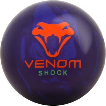 The Motiv Venon Shock has it all at an affordable price. This ball pairs the Gear weight block with the Turmoil MFS Reactive coverstock from the Covert Revolt to produce a smooth but angular backend motion that continues through the pins. The colors on this ball really pop on the lane and produce shocking results on light to medium oil conditions.  Color: Purple/Purple Solid with Orange/Green NeoMark™ Graphics  Core: GearCoverstock: Turmoil™ MFS ReactiveFinish: 4000 Grit SandedRG: 2.48 (15# ball)Differential: 0.034 (15# ball)Hook Potential: MediumLength: EarlyRecommended Lane Condition: Light-Medium Oil