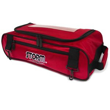 Perfect for the tournament player on-the-go, the Storm Shoe Bag comfortably holds your bowling shoes while being able to be carried-on to a plane while your tournament tote(s) can go conveniently below deck. 600D Polyvinyl Material Attaches to Storm 3 Ball Tournament Roller/Totes Holds up to Size 15 Shoes and some small accessories. Clear Window Pocket.