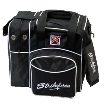 """This Single Tote is a very well made Single tote bag. There is a side pocket which carries a pair of bowling shoes along with a front accessory compartment. PRE ORDER NOW! Features: , Adjustable padded shoulder strap , Side shoe compartment , Large front accessory pocket , Foam ball holder , Metal hardware , 600D fabric , Holds up to size 14 shoes , Dimensions: 14"""" W x 9"""" D x 13"""" H  Adjustable padded shoulder strapSide shoe compartmentLarge front accessory pocketFoam ball holderMetal hardware600D fabricHolds up to size 14 shoesDimensions: 14"""" W x 9"""" D x 13"""" H"""