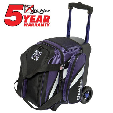 """The KR Strikeforce Cruiser Single Roller can hold size 13 shoes, 1 bowling ball, and all your accessories for a fun night of bowling! The smooth wheels and the retractable handle makes it easy to transport anywhere.  Color: Black/Purple/WhiteFeatures 4"""" EVA Foam/PP Core Spyder Wheel For A Smooth Quiet RideSeparate Top Shoe CompartmentFront Accessory PocketRetractable Square Locking Handle Extends To 39""""600D FabricHolds Up To Size 13 Shoes5 Year Manufacturer's Limited Warranty"""