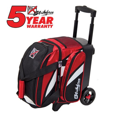 """The KR Strikeforce Cruiser Single Roller has been designed and assembled in the USA! This bag is great for a bowler who only needs one ball and a pair of shoes for bowl night.  Color: Black/Red/WhiteFeatures 4"""" EVA Foam/PP Core Spyder Wheel For A Smooth Quiet RideSeperate Top Shoe CompartmentFront Accessory PocketRetractable Square Locking Handle Extends To 39""""600D FabricHolds Up To Size 13 ShoesDimensions: W 10"""" X D 17"""" X H 20"""""""