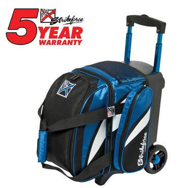"""The KR Strikeforce Cruiser Single Roller has all you need in a bag for a good time! This bag has a shoe compartment that holds up to a size 13 shoe, and accessory pocket for all your bowling needs.  Color: Black/Blue/WhiteFeatures 4"""" EVA Foam/PP Core Spyder Wheel For A Smooth Quiet RideSeparate Top Shoe CompartmentFront Accessory PocketRetractable Square Locking Handle Extends To 39""""600D FabricHolds Up To Size 13 ShoesDimensions: W 10"""" X D 17"""" X H 20"""""""