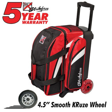 "The KR Cruiser Smooth Double Roller Red/White/Black bowling bag has quality features to offer any bowler. It has 4.5"" Smooth KRuze wheels that give it an ultra quiet and smooth roll, as well as a large shoe compartment that can hold up to two pairs of shoes. Those are just a few of the many attributes this bowling bag has to offer.  Color: Red/White/BlackWheels: Color coordinated 4.5"" Smooth KRuze urethane wheels provide a quiet and smooth ride.Shoe Compartment: Separate shoe compartment with room for 2 pairs of shoes.Accessory Pocket: 1 large side pocket.Interior: Velcro retaining straps keep bowling balls secure.Handle: Retractable square color coordinated locking handle extends to 36""Fabric: 600DDimensions: 11""W x 19""D x 23""HWarranty: 5 year manufacturer's limited warranty"