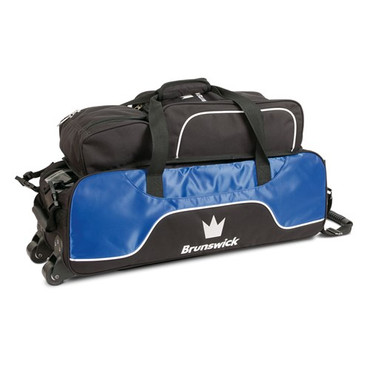 The Brunswick Crown Triple Tote Roller is perfect for those that need a lighter weight roller. This bag is awesome for traveling or for tournaments. This bag features a clip on pouch system for easy access and a removable shoe and accessory pouch.  Color: RoyalTransparent top viewThree bowling ball capacity with foam holdersSmall accessory opening on front sideRubber pull handle for comfortRemovable shoe and accessory pouch*Clip on pouch system for easy access*Embroidered logos600D / 840D FabricsPerfect for travel or tournament players!Warranty: 1 year limited manufacturer's warranty
