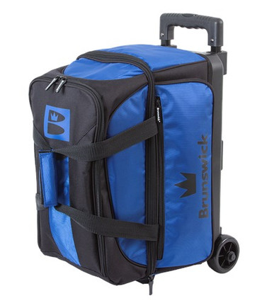 The Brunswick Blitz Double Roller is a basic double roller with a 5-year manufacturer's limited warranty. This bag was designed to carry 2 bowling balls, shoes up to a men's size 17 as well as accessories. Stop toting and start rolling with the Brunswick Blitz Double Roller!  Color: Blue/BlackRetractable and locking handle system3.5 inch wheelsLarge front zippered pocketHolds up to size 17 men's shoeScreen printed logos600D Fabric5-Year Limited Warranty