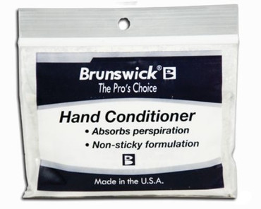 Do you need your hands to be dryer when your bowling? If so consider getting this Brunswick Hand Conditioner. It absorbs hand perspiration, drying your hands for a clean release. It is packaged in a re-sealable bag and it easily fits inside your bowling bag  SOLD INDIVIDUALLY  Absorbs perspirationNon-sticky formulationDries your hands for a clean releasePackaged in a re-sealable bag