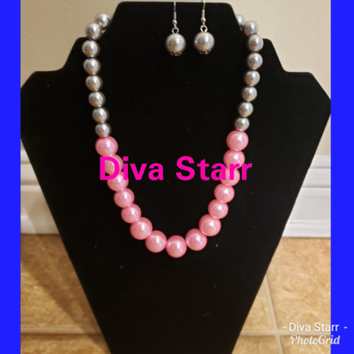 Pink & Silver Necklace Set