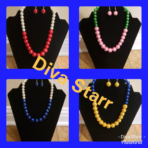 Pink & Green Necklace & Earring Set