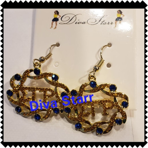 Gold & Blue Bling Bling Earrings SGR