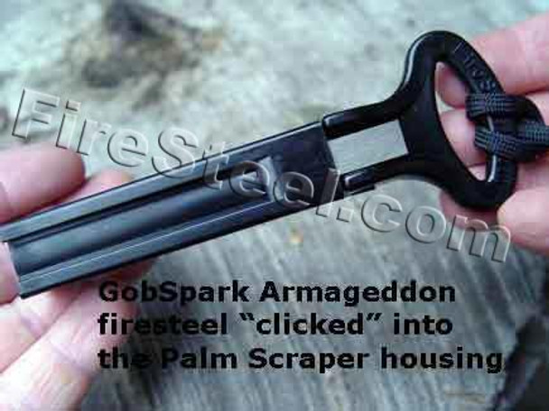 The FireSteel snaps into the protective Palm Scraper sleeve