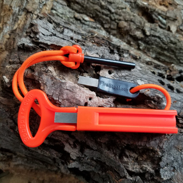 NEW!  GobSpark DUO in Safety Orange!  NEVER misplace your gear in the mud again.  (Yes, they really are that bright.)  Set includes one each GobSpark Armageddon 2pc kit and GobSpark Ranger 2 pc kit.  Each kit is strung together with a matching colored length of 550 paracord.