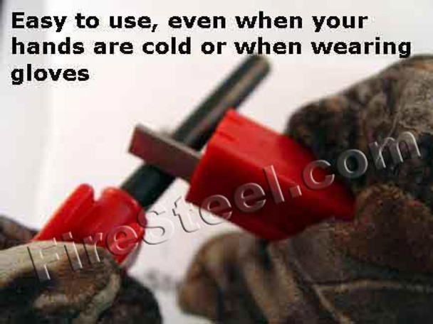 The palm scraper works well when you are wearing gloves.  Scrape your FireSteel and get great sparks even when the temperature is -40 below zero!