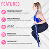 Infographic of features of the Vitality Flex Long Fitness Band: premium durability; multifunctional; anti slip; breathable; lightweight